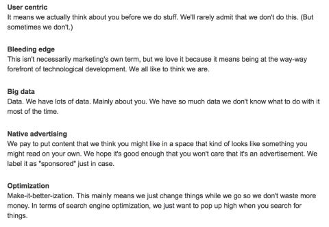 Marketing jargon